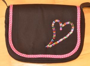 Wechselklappe Pailetten-Herz für Handtasche Buntklee