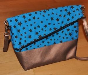 Fold-over Handtasche, türkis-bronze, groß