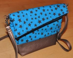 Fold-over Handtasche, türkis-bronze, klein - Handarbeit kaufen