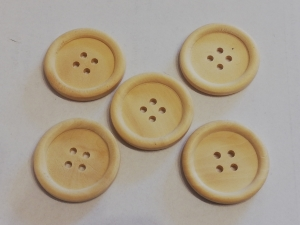 Knopf aus hellem  Holz 30 mm Rundknopf 5 Stück