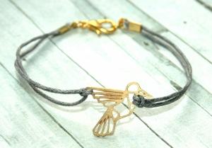 ♡ Handmade Origami Lasercut Kolibri Freundschafts Armband, gewachste Baumwolle, grau/gold - 16-17cm