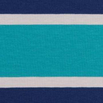 Lilly Jersey- Blockstreifen dunkelblau/türkis