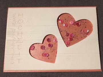 Einladung für Hochzeit als Schüttelkarte aus rosafarbenden Glanzpapier (Kopie id: 31209)
