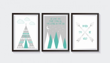 3 Poster Bilder Kinderzimmer BERG MINT-GRAU