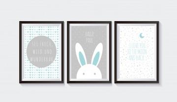 3 Poster Bilder Kinderzimmer HASE MINT - GRAU II SET