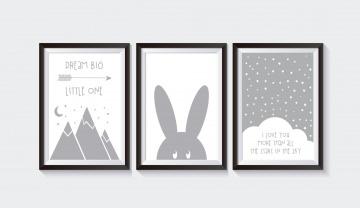 3 Poster / Bilder Kinderzimmer HASE GRAU SET