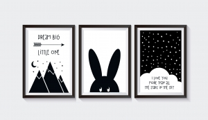 3 Poster / Bilder Kinderzimmer HASE SKANDI