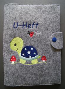 U-Hefthülle Schildkröte blau mit Aufschrift U-Heft