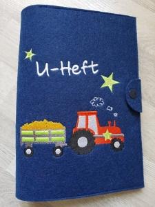 U-Hefthülle Traktor Orange mit Aufschrift U-Heft