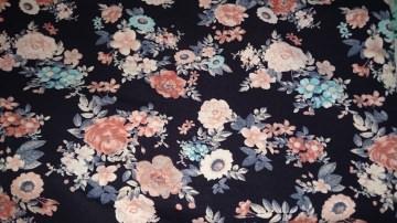 Baumwoll-Jersey   Stoff Frau / Mädchen Blumen