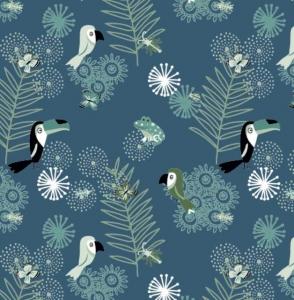 Baumwolle Stoff Tukan auf blau, Stoff, Kinderstoff, Mädchen, Junge, Frau, Patchwork
