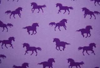 Baumwoll-Jersey Einhörner auf lila/flieder, Einhorn, Mädchen, Frau, Stoff, Kinderstoff