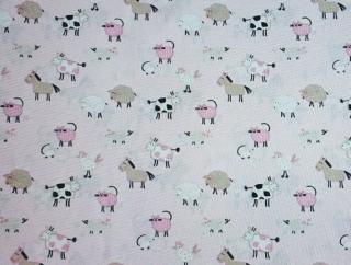 Baumwolle Stoff Bauernhof auf rosa Kinderstoff Mädchen Baby