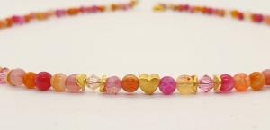 Traumhafte facettierte Achatkette in pink, orange, rose aus 4 mm großen facettierten Edelsteinen mit Gold und Kristall - Handarbeit kaufen