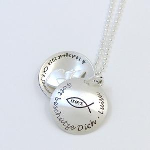 ICHTHYS Taufkette Schutzengel Medaillon echt Silber 925 mit personalisierter Gravur