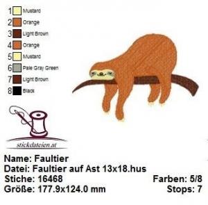 Faultier auf Ast, Stickdatei 13x18