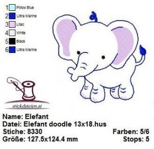 Elefant, doodle, Stickdatei, Applikation 13x18