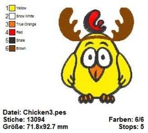 Chicken3 10x10, Stickdatei - Handarbeit kaufen