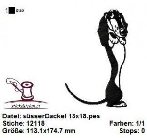 süßer Dackel, Stickdatei 13x18 - Handarbeit kaufen