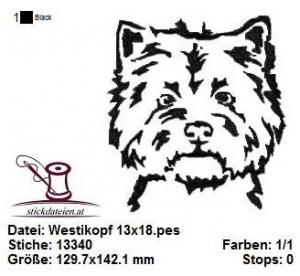 Westi-Kopf, West Higland Terrier, Stickdatei 13x18 - Handarbeit kaufen