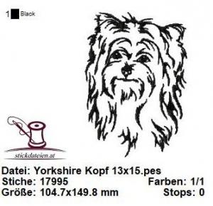 Yorkshire Kopf, Stickdatei 13x18 - Handarbeit kaufen