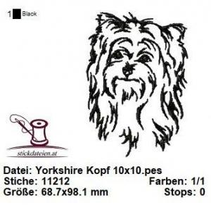 Yorkshire Kopf, Stickdatei 10x10 - Handarbeit kaufen