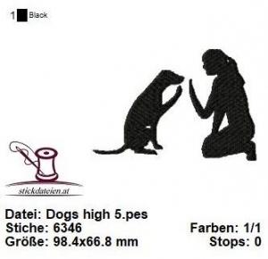 ☆☆☆ Dogs High5, Stickdatei 10x10 ☆☆☆ - Handarbeit kaufen