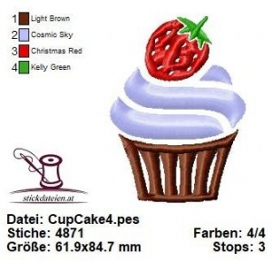 ♥♥♥ Cup Cake_4, Stickdatei 10x10 ♥♥♥ - Handarbeit kaufen