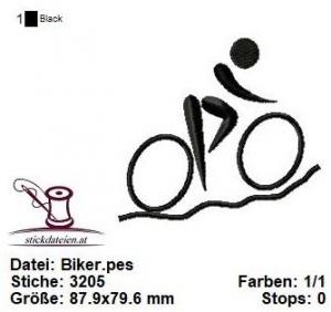 Biker, Fahrrad, Sport, Stickdatei 10x10