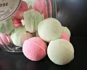 Badekugeln/ Badebomben Wassermelone im Bonbonglas ,20 Minis
