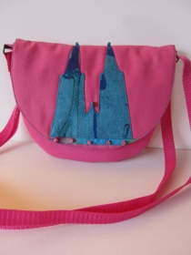 PINKY Süße kleine Tasche aus Baumwolle mit Kölner Dom Motiv in pink - Handarbeit kaufen