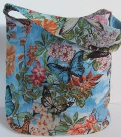 PHANTASIA  Schöner und geräumiger shopper aus hochwertigem Gobelin mit zauberhaftem Schmetterlingsdesign