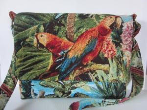 PARADISE Wunderschöne kleine Schultertasche aus hochwertigem Gobelinstoff mit paradisischem Design