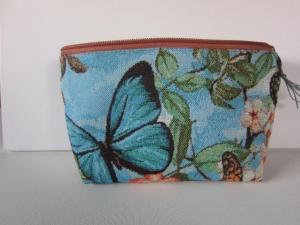 PHANTASIA Schöne Kosmetiktasche aus hochwertigem Gobelinstoff mit phantasievollem Schmetterlingsdesign
