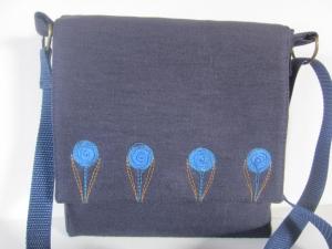 *AURELIE * Schöne kleine Schultertasche aus dunkelblauem Leinen mit Blütenmotiv und Innentasche mit Reißverschluss