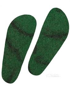 FilzWerk Schafwoll-Filzeinlegesohlen Gr. 47 / unisex /grün dunkel / herrlich warm / gesundes Klima im Schuh / feuchtigkeitsregulierend  - Handarbeit kaufen