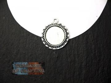 Fassung, Silber, für Cabochon  oder Schmuckstein, rund, Schnörkel, passend für 2 cm (Kopie id: 100028011)