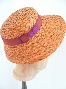 Sommer Strohhut Strohschute mit Schleife, sehr romantisch zum Sommerkleid, Einzelstück