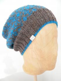 Strickmütze mit Fair Isle Muster aus Wolle, handgestrickt