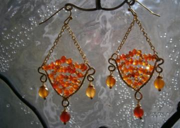 Ohrringe orange Karneol handgemacht chandeliers