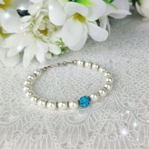 ♥ Armband Weiß mit Shamballa Perle ♥ Handgemacht ♥