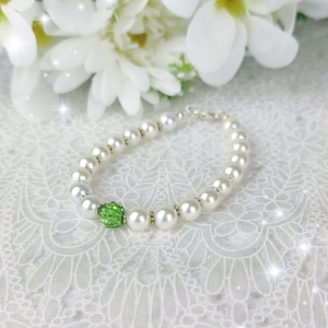 ♥  Armband in Weiß mit Shamballaperle in Grün ♥  Handgemacht ♥