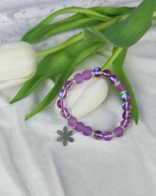 ♥ Zauberhaftes Armband mit Edelstahl Blume ♥ Handgemacht ♥