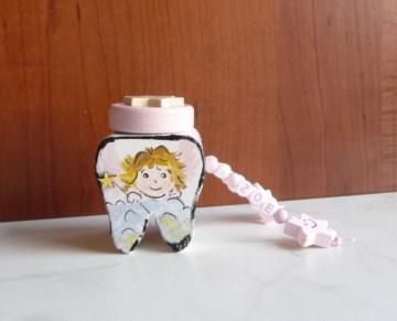Zahndose von der Zahnfee für Mädchen Wunschname Zahn