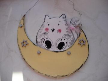 Türschild...Kinderzimmer gesucht Wunschname Katze auf Mond