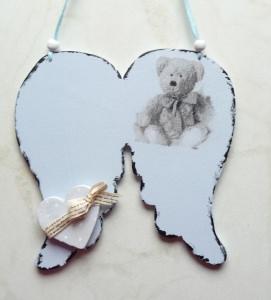 Türschild Taufe..gesucht Wunschname Baby Engelsflügel Teddy