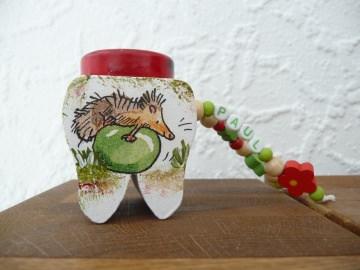 Zahndose von der Zahnfee kleine Igel  Pilz Blumen