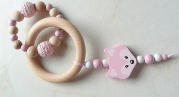Greifring Fuchs Schnullerketten Taschenanhänger Greifling fürs Baby