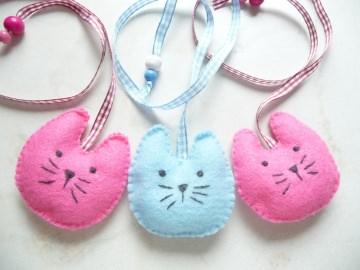 1  Lesezeichens zur Wahl aus Filz Katze Hurra ich bin ein Schulkind für die Schultüte