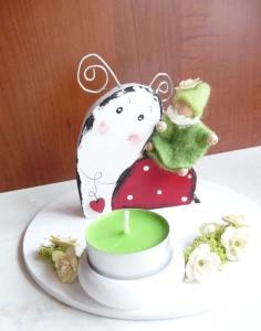 Schneckenreiter Teelicht Geburtstag Geburtstagskerze Schnecke mit Zwerg